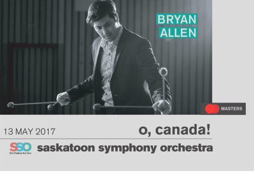"May 13, 2017 – Bryan Allen (percussionist) and the Saskatoon Symphony presents ""The Shaman"" (Saskatoon, SK)"